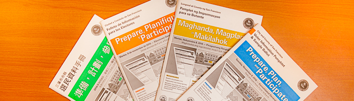English, Chinese, Spanish, and Filipino versions of the Voter Information Pamphlets