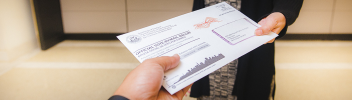 Person receiving a vote-by-mail ballot