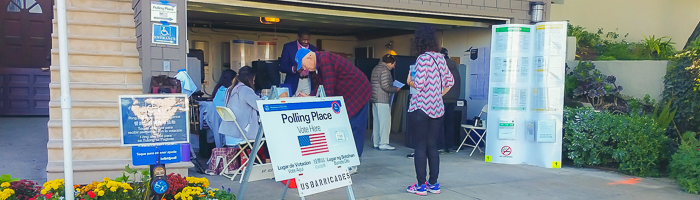 Voters participating in an election at a San Francisco polling place