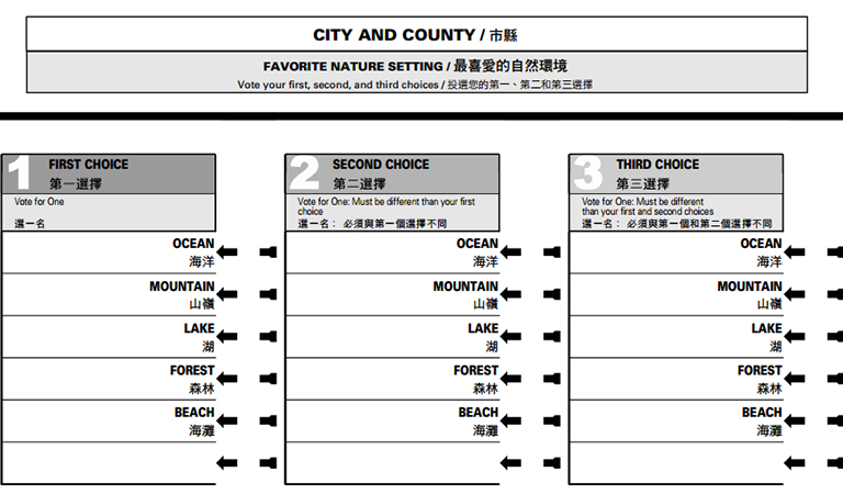 Ranked Choice Voting Sample Ballot