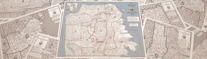 Citywide precinct map of San Francisco and individual Supervisorial district maps